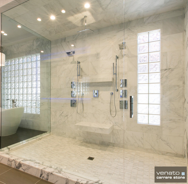 Carrara carrera marble bathroom tile contemporary for Carrara marble bathroom floor designs