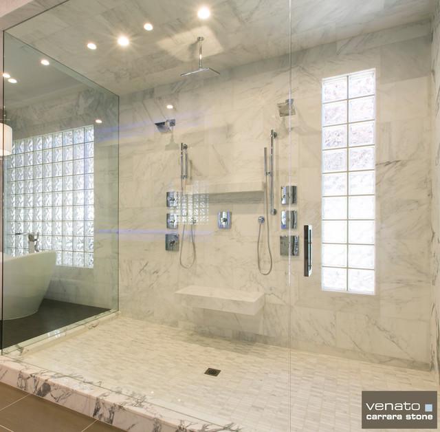 Carrara Carrera Marble Bathroom Tile Contemporary Las