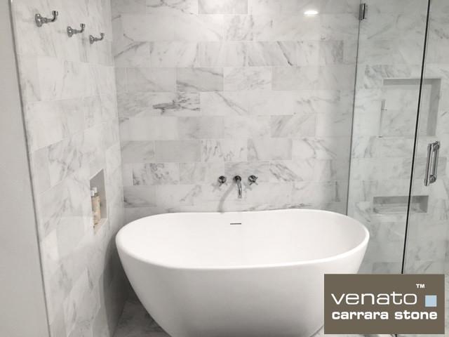 Carrara Marble X Marble Subway Tile Traditional Bathroom - 6x12 subway tile shower