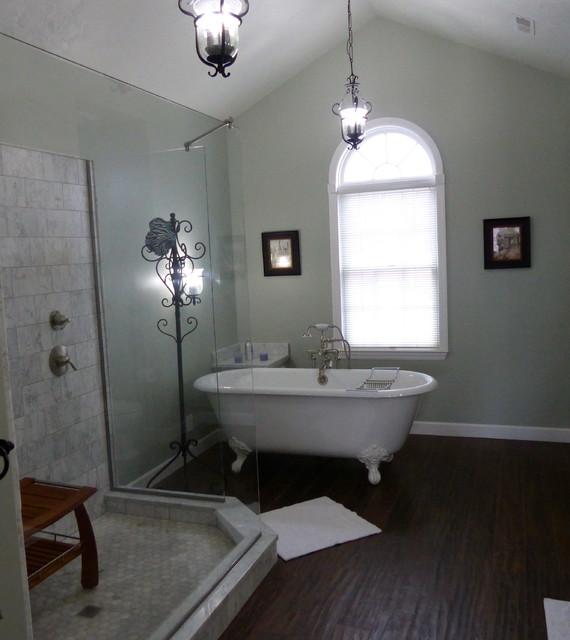 Carrara Marble, Custom Wedi Shower, Clawfoot tub