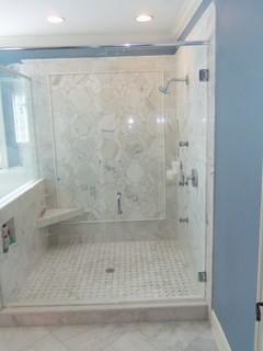 carrara marble master bathroom - traditional - bathroom