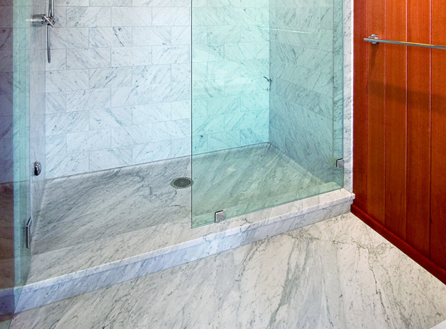 Carrara Marble Shower Traditional Bathroom Portland