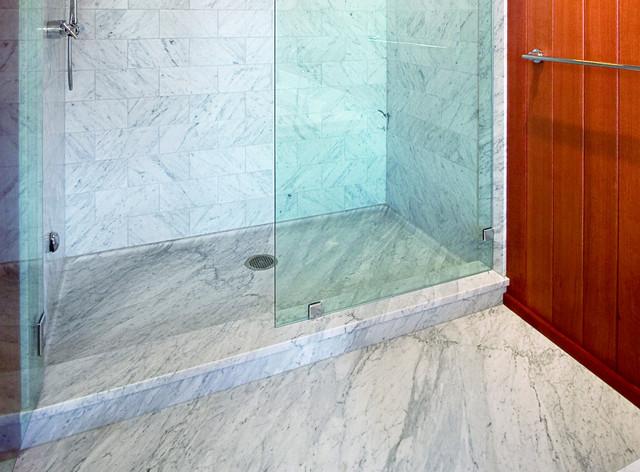 Carrara Marble Shower Traditional Bathroom Portland