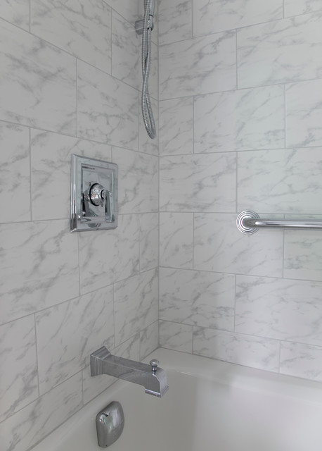 Carrara marble shower tile traditional bathroom other by