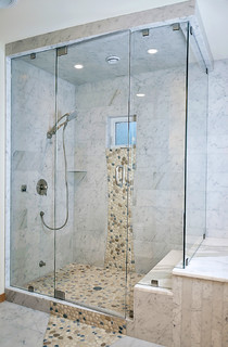 Carrara Marble Shower With River Rock Pebbles