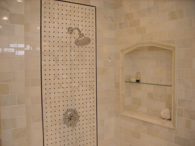 carrara marble subway tile shower w built in niche