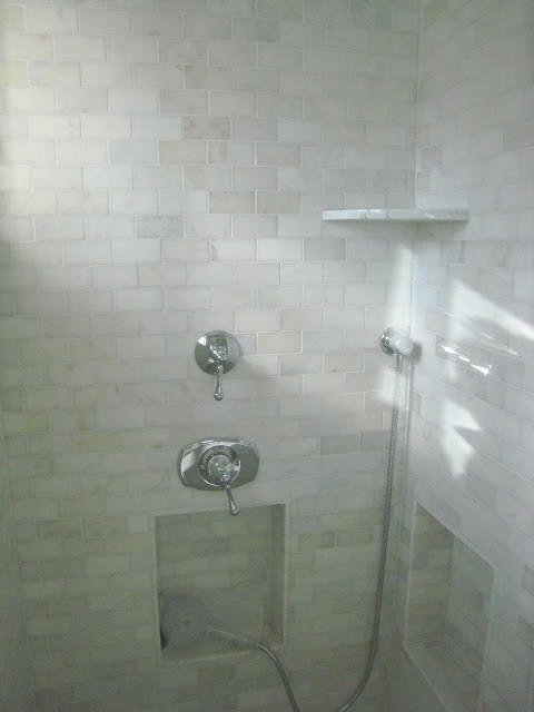 carrara marble tile shower contemporary bathroom
