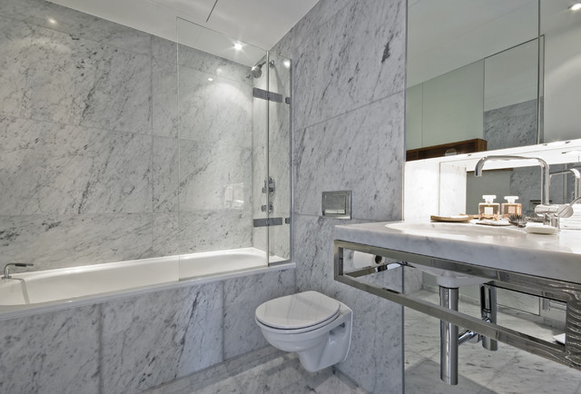 White Marble Tile Bathroom carrara marble tile white bathroom - contemporary - bathroom - new