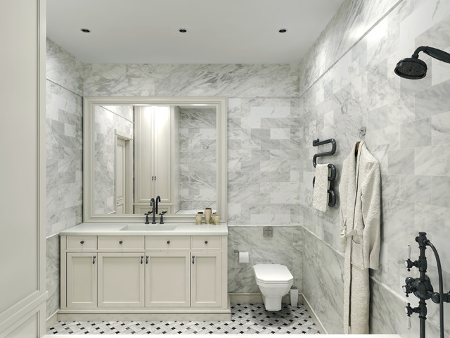 Carrara Marble Tile White Bathroom Design Ideas modern-bathroom