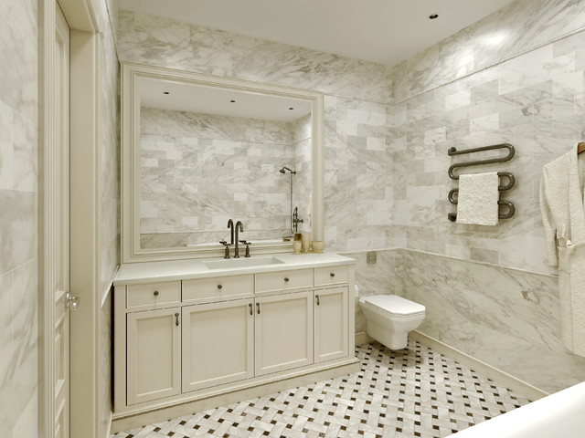 Carrara marble tile white bathroom design ideas modern for Granite and tile bathroom ideas