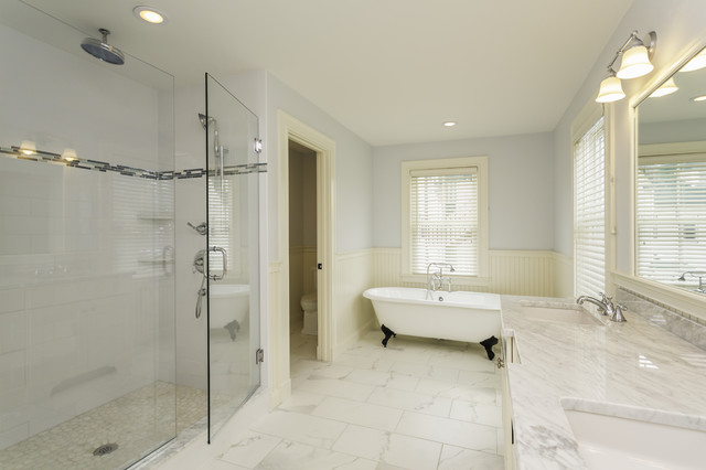 Carrara Marble Tile White Bathroom Design Ideas - Modern ...