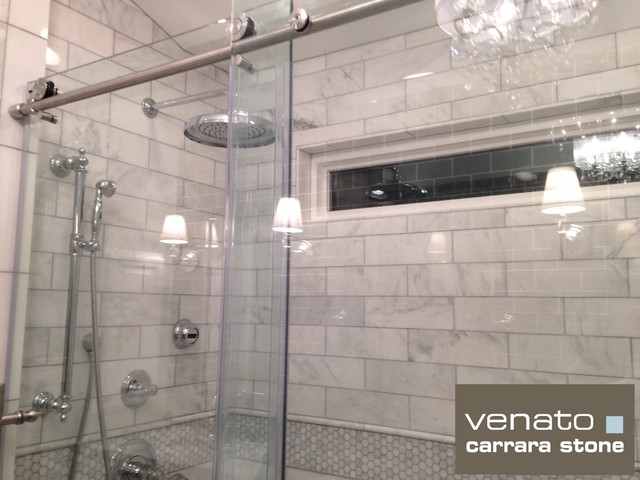 Carrara Venato 4x12 Honed Marble Tile Traditional Bathroom