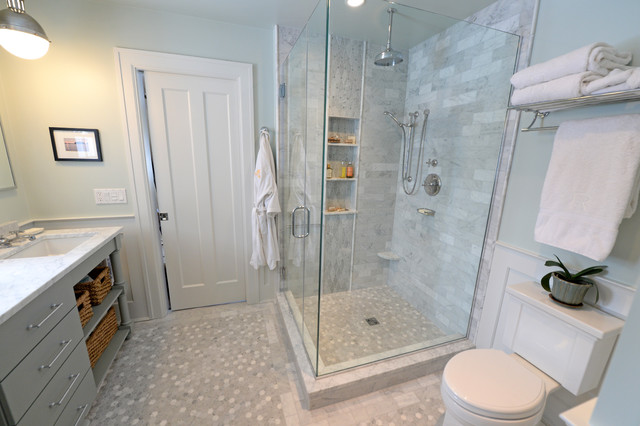 Carrera marble master bath remodel traditional for Marble master bathroom designs