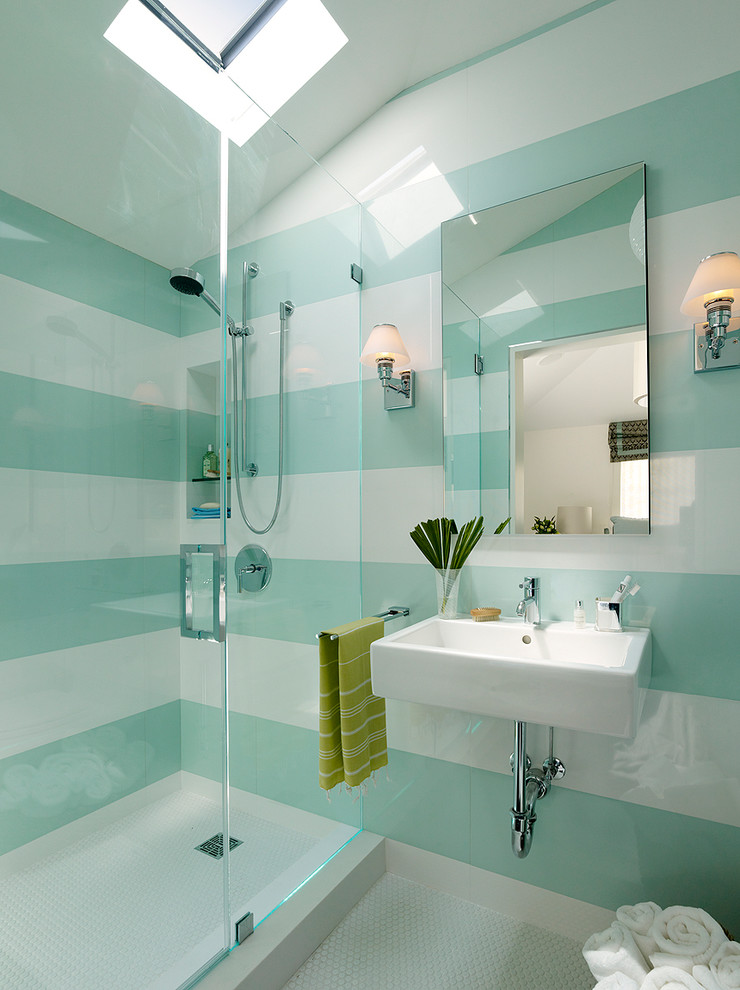 Example of a trendy kids' mosaic tile bathroom design in San Francisco with a wall-mount sink and green walls
