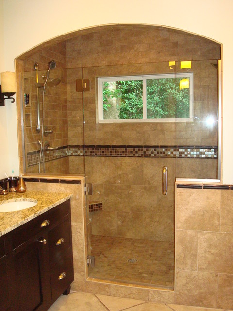 cary bath remodel - oversized shower traditional bathroom
