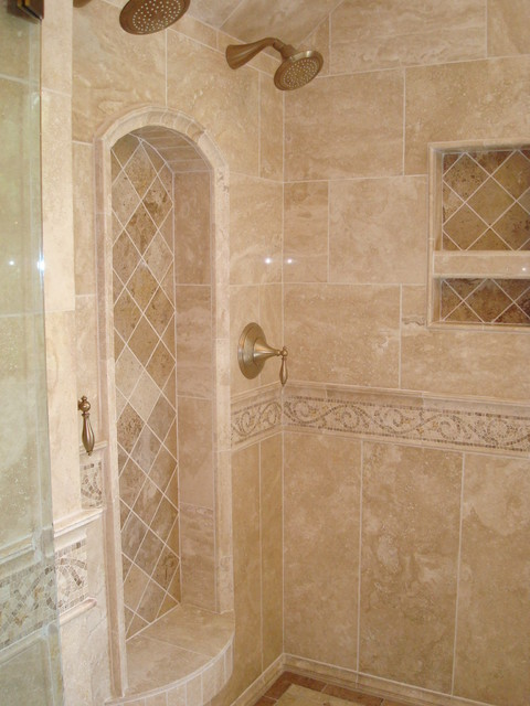 Cary bath remodel traditional travertine traditional for Travertine tile in bathroom ideas