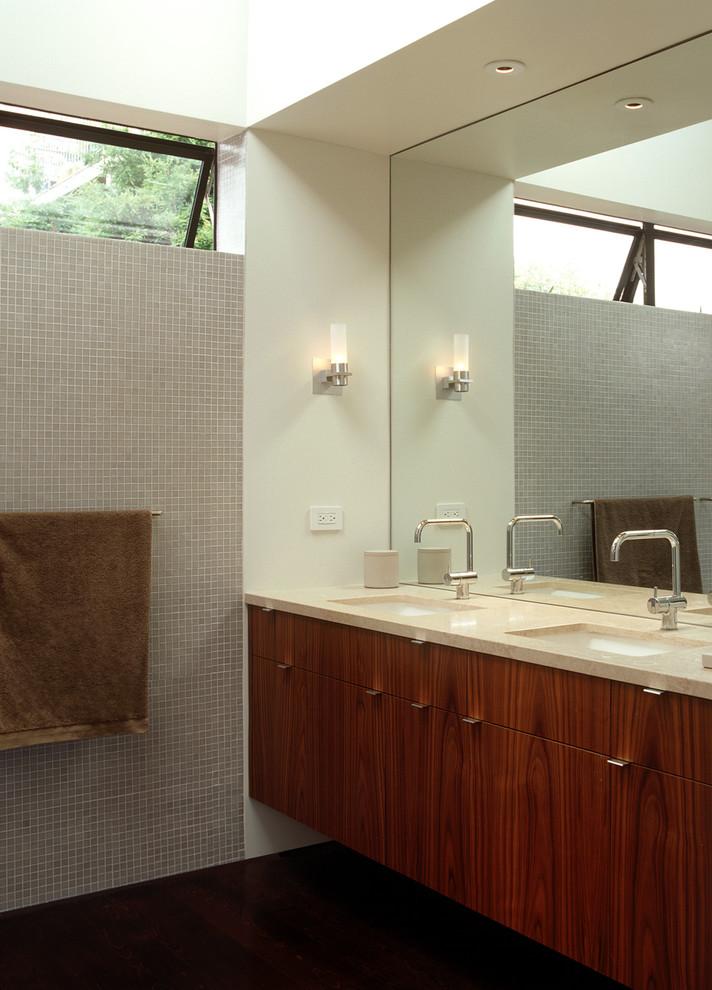 Minimalist mosaic tile bathroom photo in San Francisco with an undermount sink