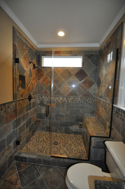 Cary guest bath remodel slate traditional bathroom for Guest bathroom remodel ideas