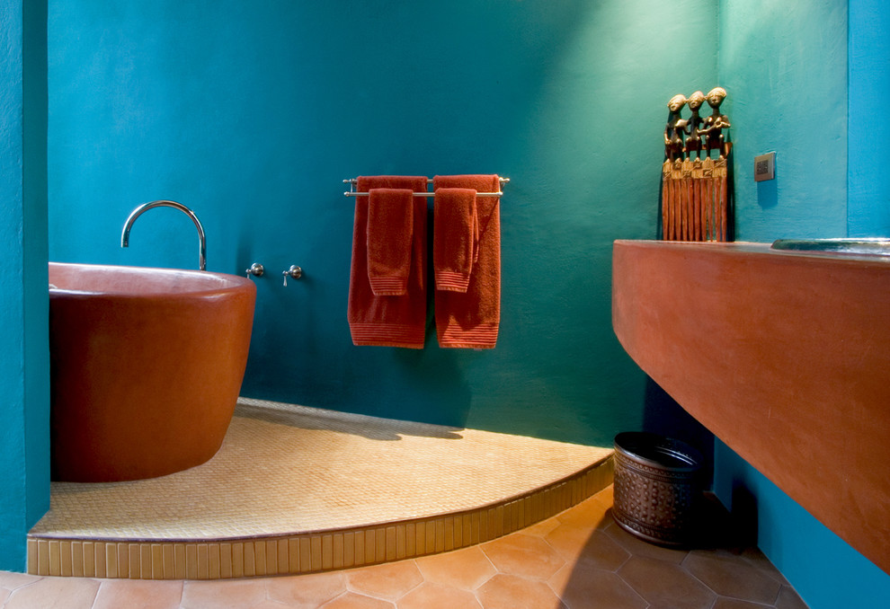 Inspiration for a southwestern freestanding bathtub remodel in Mexico City