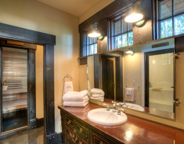 Bathroom off exercise room. rustic-bathroom
