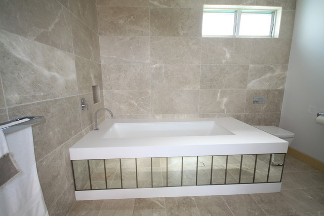 Cashmere Marble Flooring Contemporary Bathroom