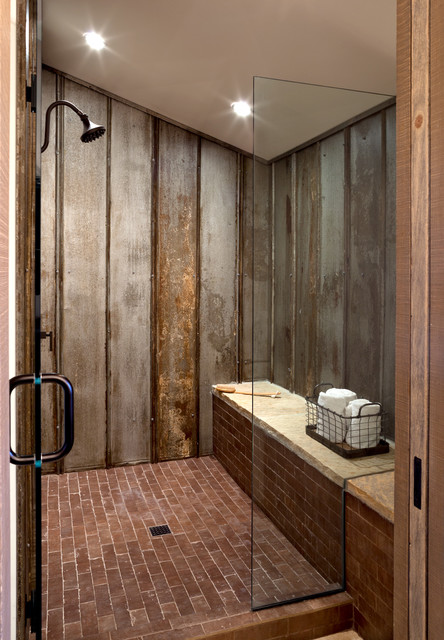 Castle Rock Farmhouse Chic - Bunk Bath Shower - Farmhouse - Bathroom - Denver - by Dragonfly Designs