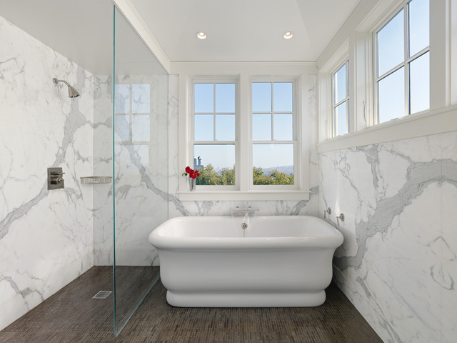 Example Of A Classic Marble Tile Mosaic Tile Floor Bathroom Design In San  Francisco