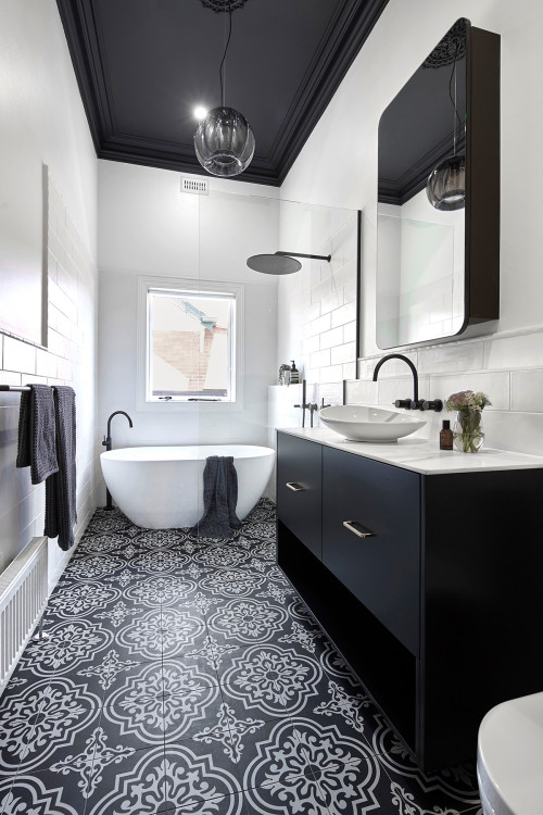 Black and White Bathroom with Moroccan Floor Tiles