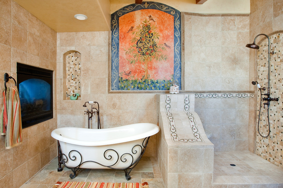 Mid-sized tuscan master beige tile and stone tile travertine floor and beige floor bathroom photo in San Luis Obispo with beige walls