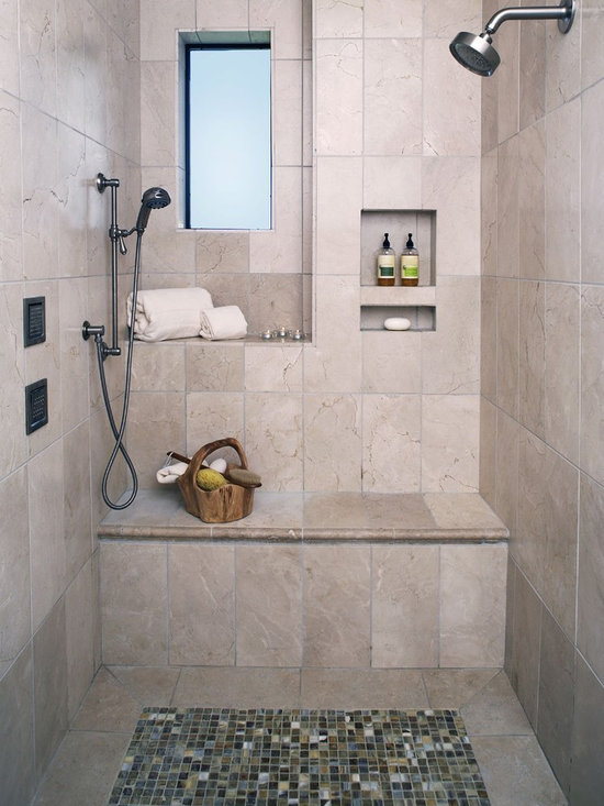 Mediterranean Shower Bench Bathroom Design Ideas Pictures