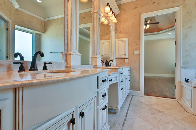 Bathroom - large traditional master beige tile and mosaic tile travertine floor and beige floor bathroom idea in Dallas with raised-panel cabinets, white cabinets, beige walls, an undermount sink and granite countertops