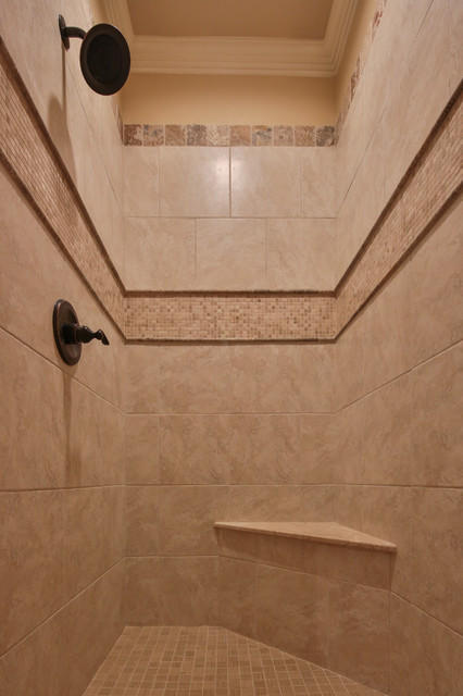Bathroom - large traditional master beige tile and mosaic tile travertine floor bathroom idea in Dallas with raised-panel cabinets, white cabinets, beige walls, an undermount sink and granite countertops