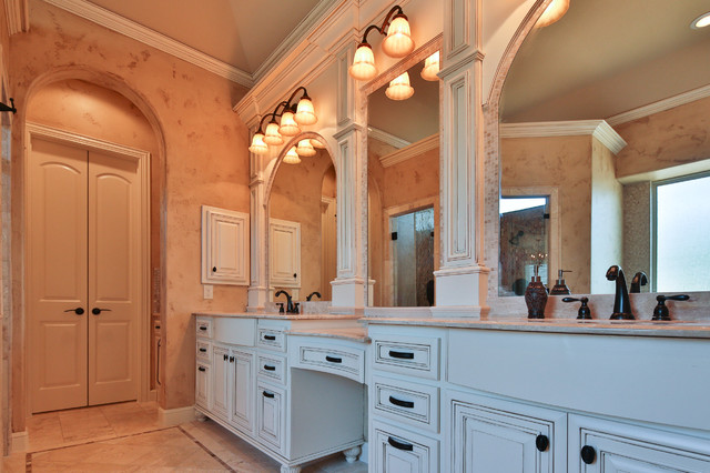 Inspiration for a large timeless master beige tile and mosaic tile travertine floor and beige floor bathroom remodel in Dallas with raised-panel cabinets, white cabinets, beige walls, an undermount sink and granite countertops