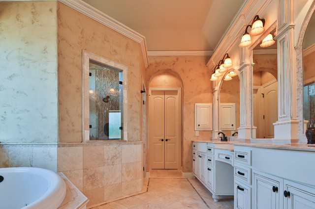 Large elegant master beige tile and mosaic tile travertine floor bathroom photo in Dallas with raised-panel cabinets, white cabinets, beige walls, an undermount sink and granite countertops