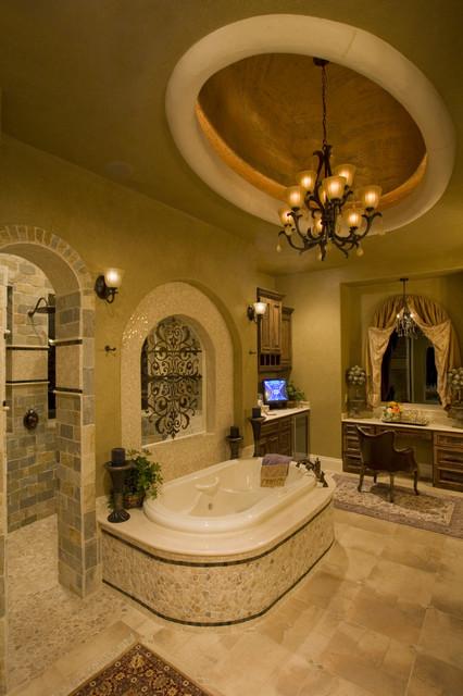Ceiling Treatments by Stadler Custom Homes mediterranean-bathroom