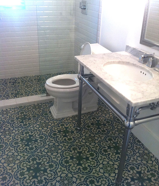 cement tile floor in bathroom