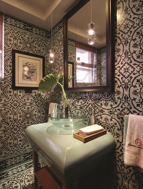 Cement Tiles Create a Bold Bath  bathroom