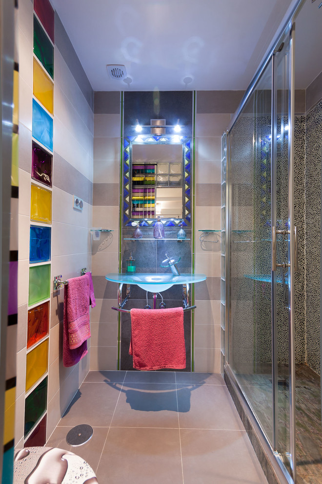 Example of a mid-sized eclectic kids' multicolored tile and glass tile ceramic tile alcove shower design in Malaga with a wall-mount sink and gray walls