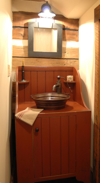 Central kentucky log cabin primitive kitchen eclectic for Primitive bathroom ideas