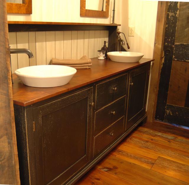Superb Central Kentucky Log Cabin Primitive Kitchen Contemporary Bathroom
