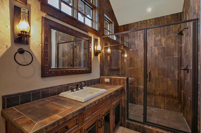 Central Oregon Custom Lodge Rustic Bathroom Other