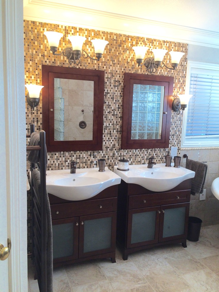 Ceramic tile wall with wood medicine cabinets ...