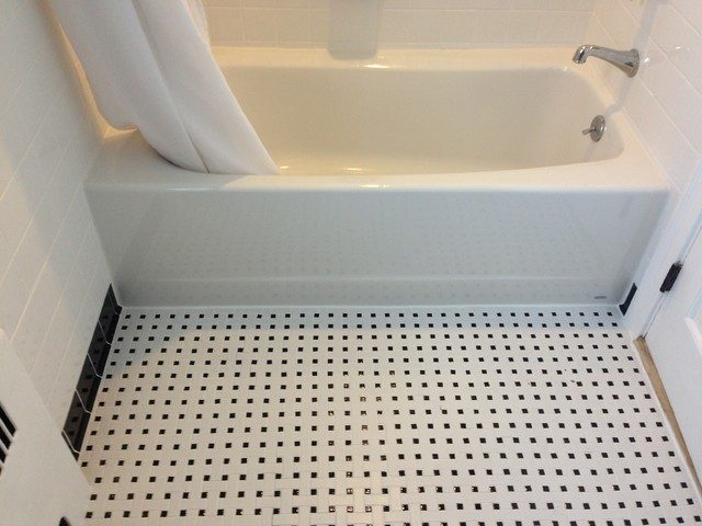 Base For Bathroom Floor Tiles : Ceramic white with black cove base tile listello and