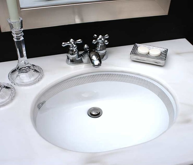 Chain Maille Border Painted Sink In Black Bathroom Contemporary Bathroom By Decorated
