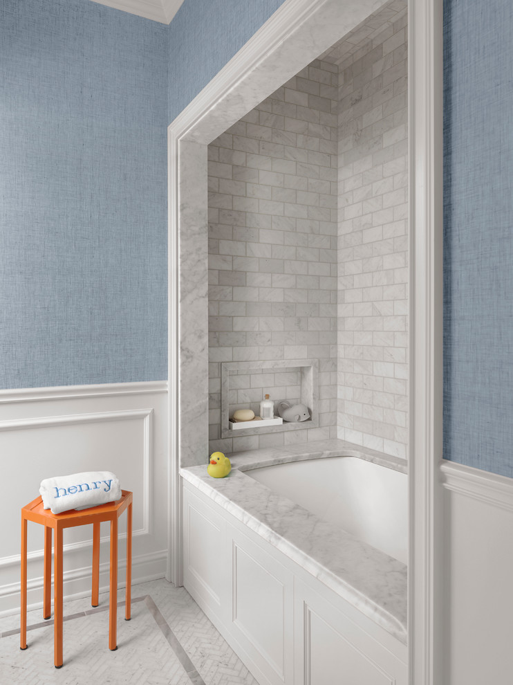 Inspiration for a mid-sized timeless kids' gray tile and marble tile mosaic tile floor and white floor bathroom remodel in St Louis with an undermount tub and blue walls