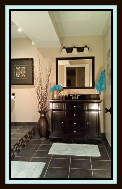 Challenging Basement Bathroom contemporary-bathroom