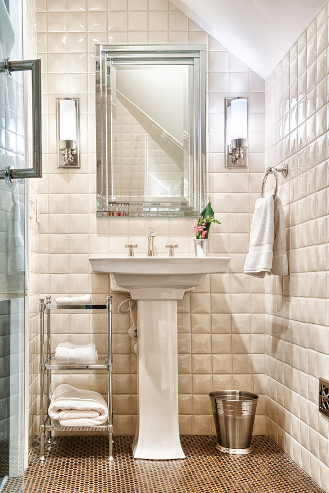 Example of a classic white tile mosaic tile floor alcove shower design in Other with a pedestal sink