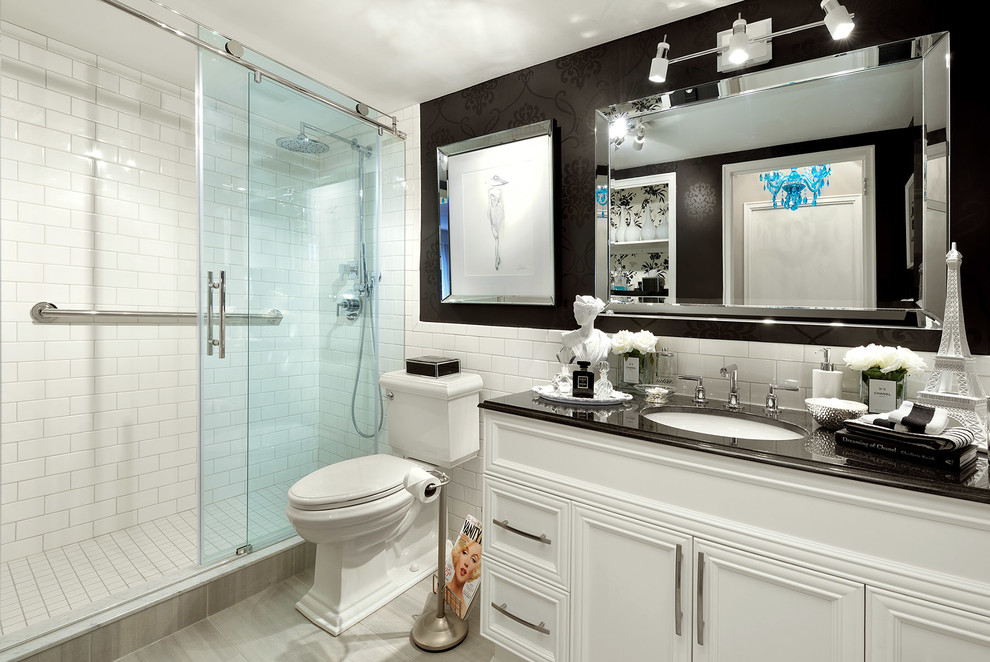 Inspiration for a small timeless master white tile and porcelain tile porcelain tile double shower remodel in Toronto with raised-panel cabinets, white cabinets, an undermount sink, quartzite countertops, a one-piece toilet and black walls