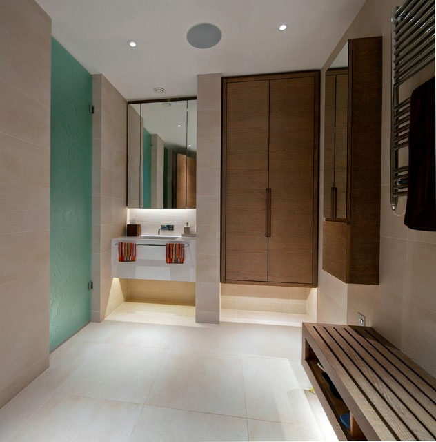 Changing room contemporary bathroom london by for Bathroom dressing room designs