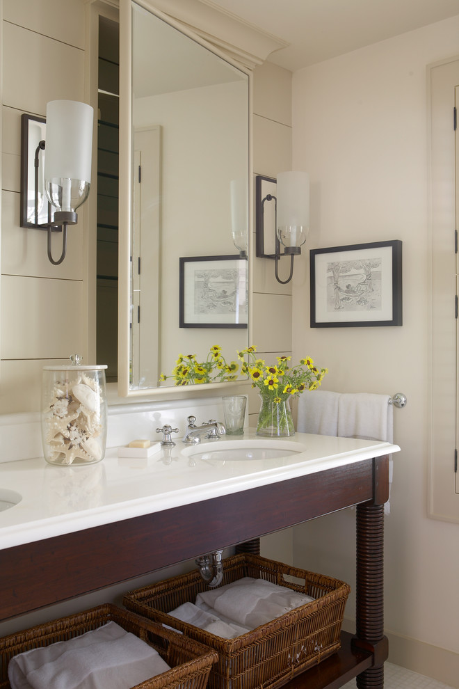Bathroom - mid-sized coastal master mosaic tile floor and white floor bathroom idea in Boston with furniture-like cabinets, dark wood cabinets, beige walls, a console sink and solid surface countertops